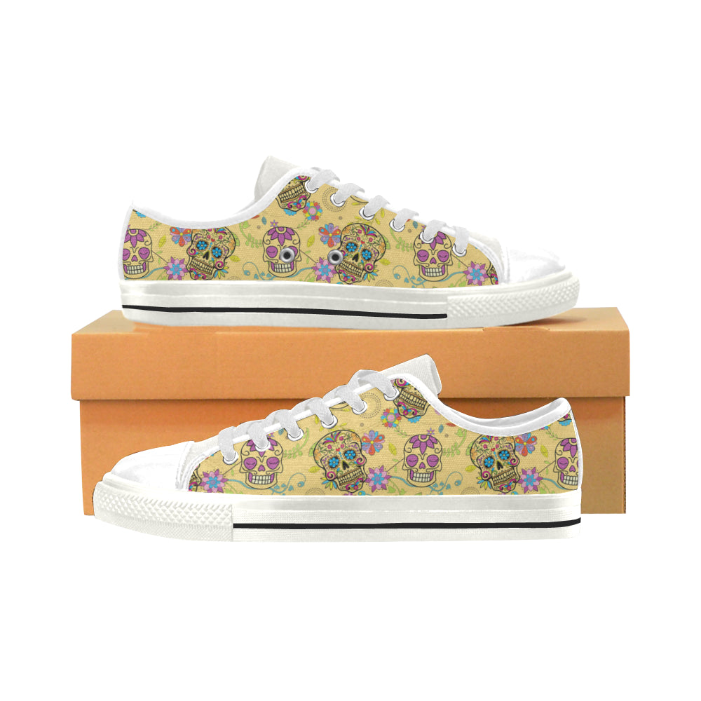 Sugar Skull White Men's Classic Canvas Shoes - TeeAmazing