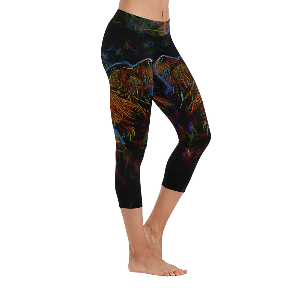 Lab Glow Design 4 Low Rise Capri Leggings (Invisible Stitch) (Model L08) - TeeAmazing