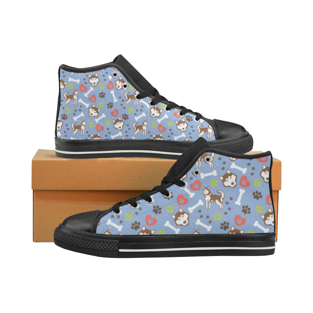 Alaskan Malamute Pattern Black High Top Canvas Women's Shoes/Large Size (Model 017) - TeeAmazing