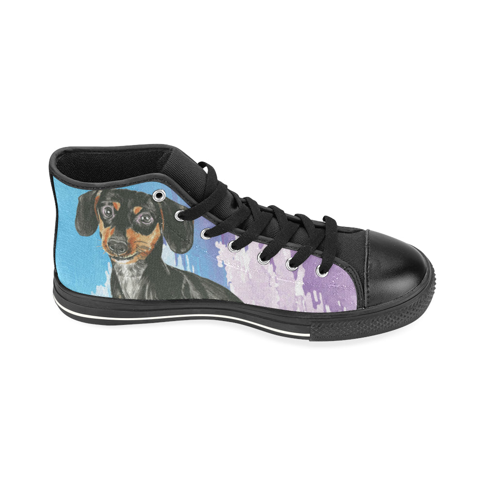 Dachshund Water Colour No.1 Black High Top Canvas Women's Shoes/Large Size - TeeAmazing