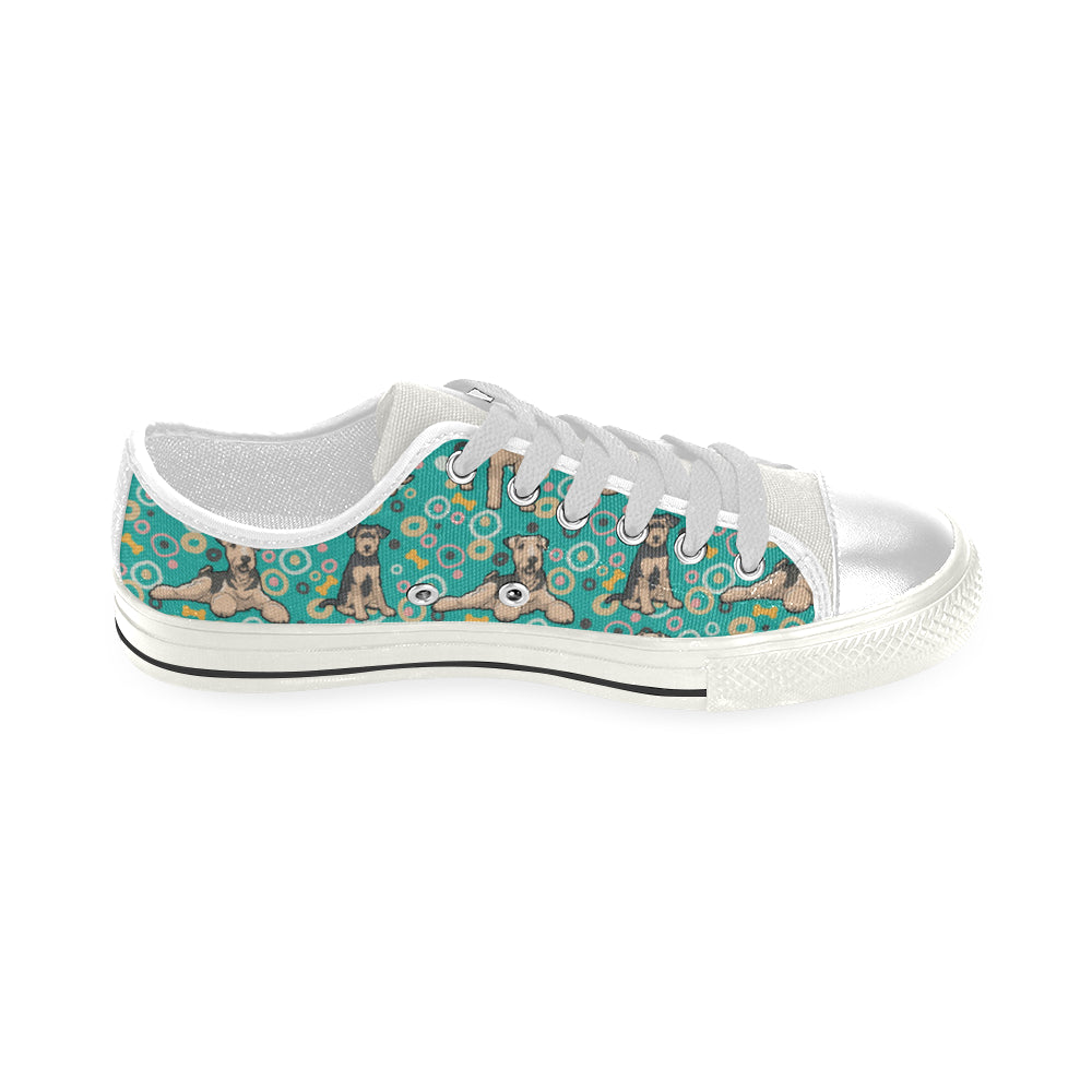 Airedale Terrier Pattern White Low Top Canvas Shoes for Kid - TeeAmazing