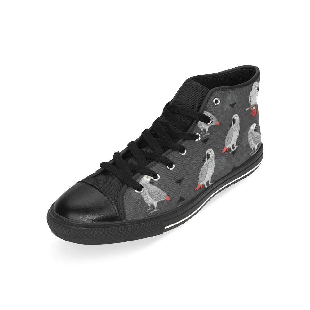 African Greys Black High Top Canvas Women's Shoes/Large Size - TeeAmazing