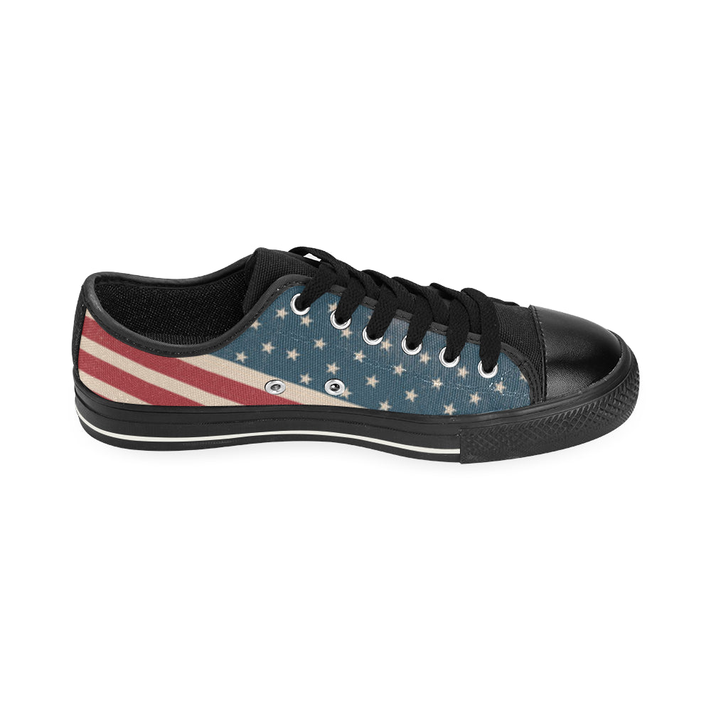4th July V2 Black Canvas Women's Shoes/Large Size - TeeAmazing