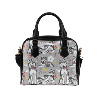 Siberian Husky Flower Shoulder Handbag - TeeAmazing