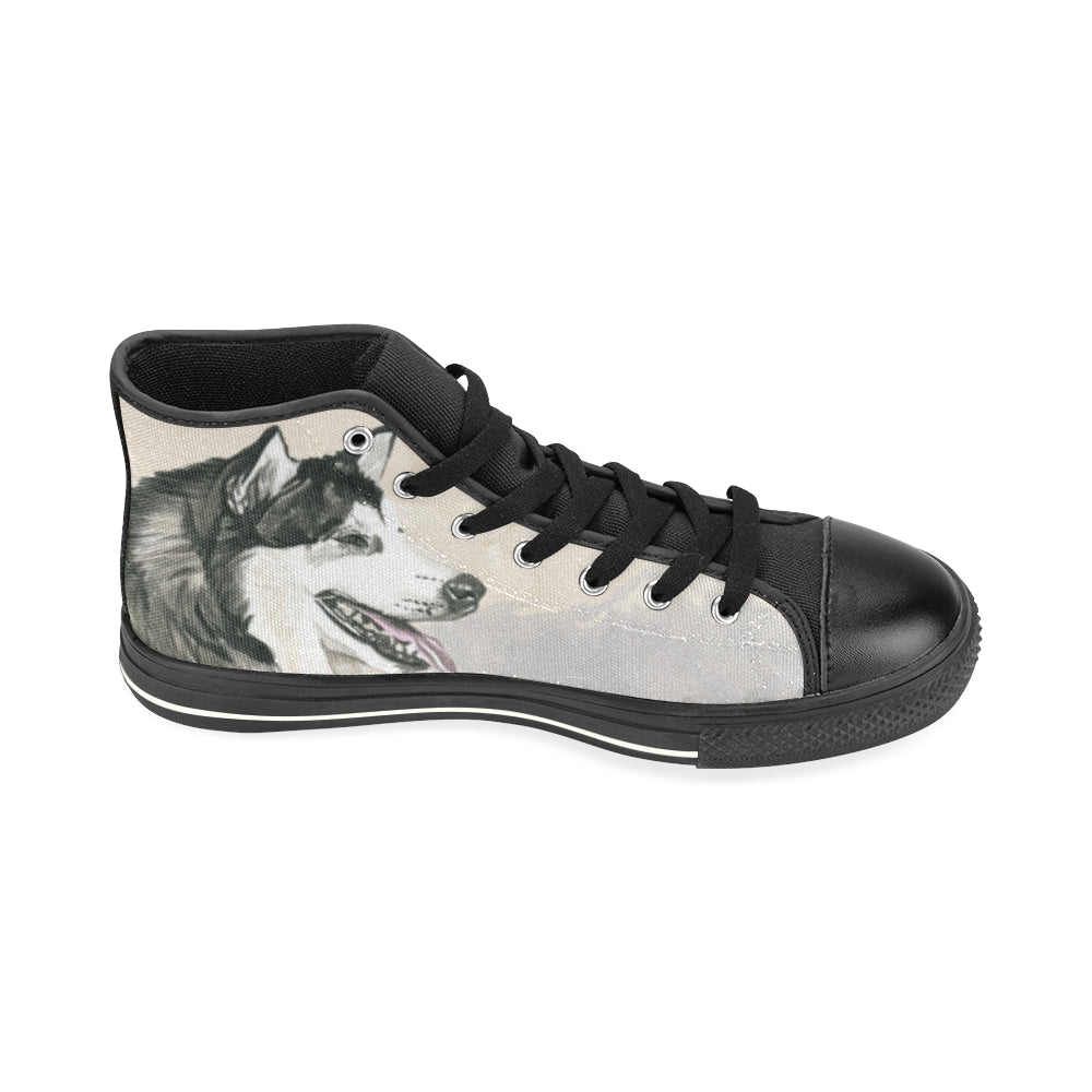 Alaskan Malamute Water Colour Black High Top Canvas Shoes for Kid (Model 017) - TeeAmazing
