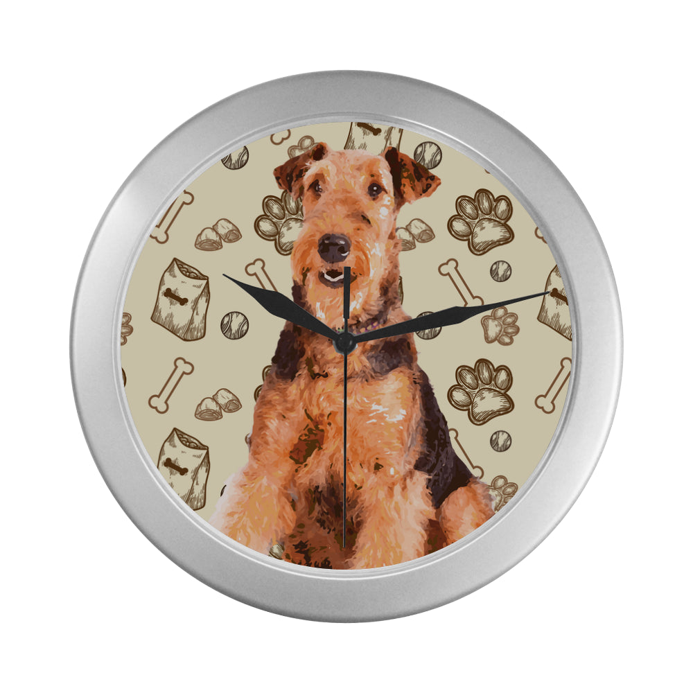 Airedale Terrier Silver Color Wall Clock - TeeAmazing