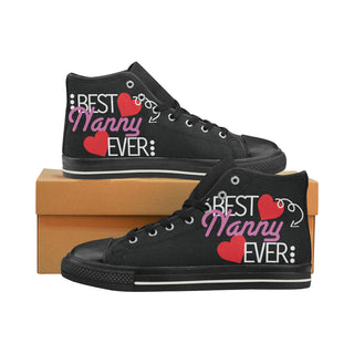 Nanny Black High Top Canvas Women's Shoes/Large Size (Model 017) - TeeAmazing