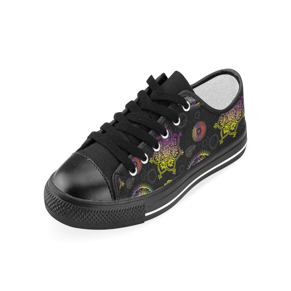 Lotus and Mandalas Black Women's Classic Canvas Shoes - TeeAmazing