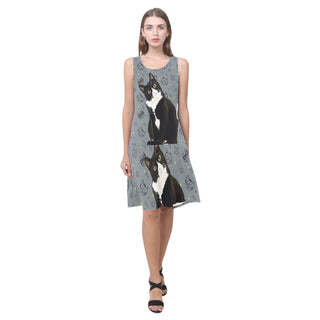 Tuxedo Cat Sleeveless Splicing Shift Dress - TeeAmazing
