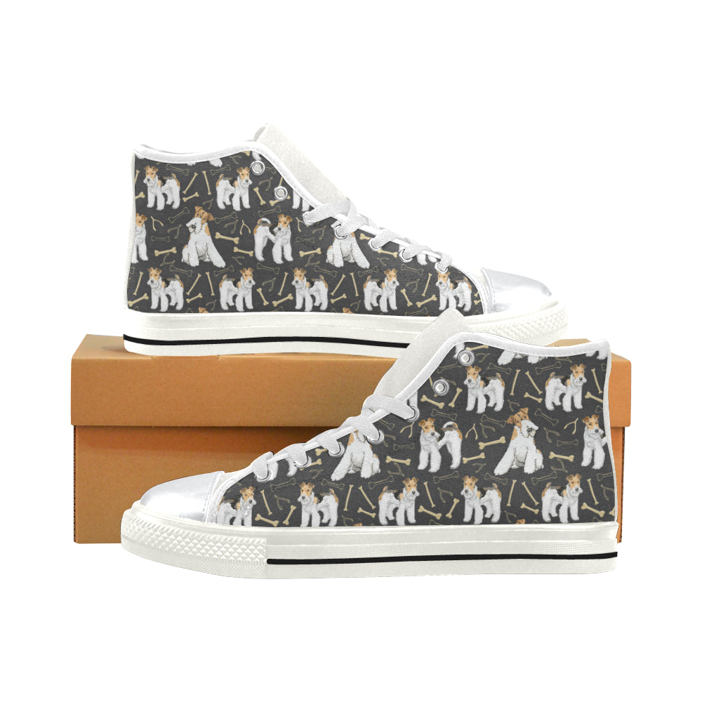 Wire Hair Fox Terrier White High Top Canvas Shoes for Kid - TeeAmazing