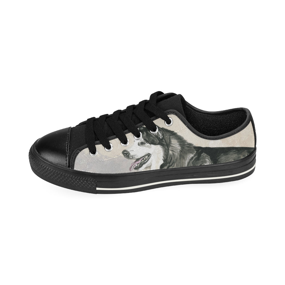 Alaskan Malamute Water Colour Black Canvas Women's Shoes/Large Size - TeeAmazing