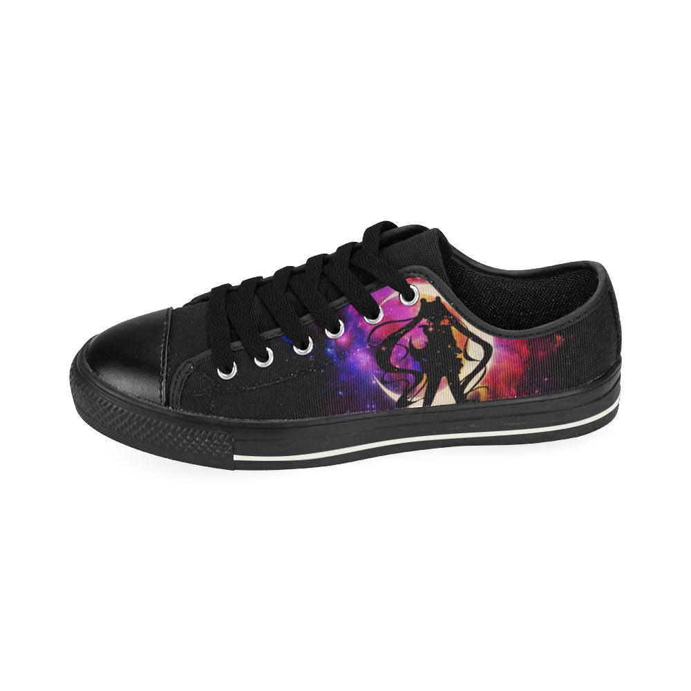 Sailor Moon Black Canvas Women's Shoes (Large Size) - TeeAmazing