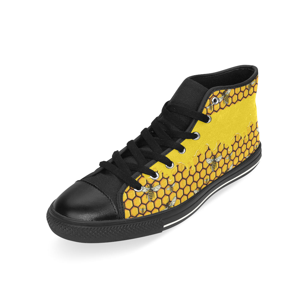 Bee Pattern Black High Top Canvas Women's Shoes/Large Size - TeeAmazing