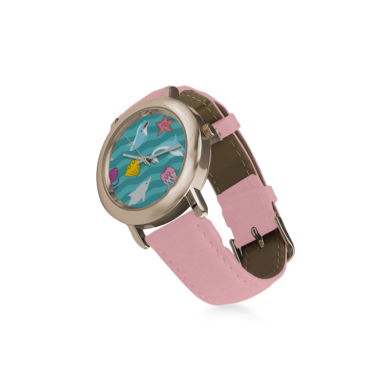Dolphin Women's Rose Gold Leather Strap Watch - TeeAmazing