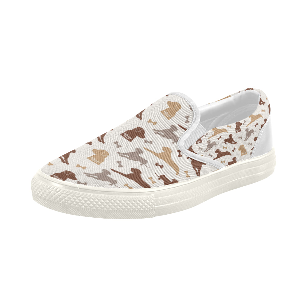 Labrador Retriever Pattern White Women's Slip-on Canvas Shoes - TeeAmazing