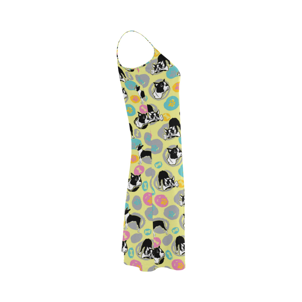Boston Terrier Pattern Alcestis Slip Dress - TeeAmazing