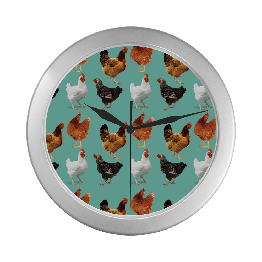 Chicken Pattern Silver Color Wall Clock - TeeAmazing