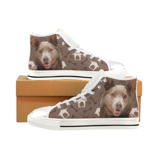 Australian Kelpie Dog White High Top Canvas Women's Shoes/Large Size (Model 017) - TeeAmazing