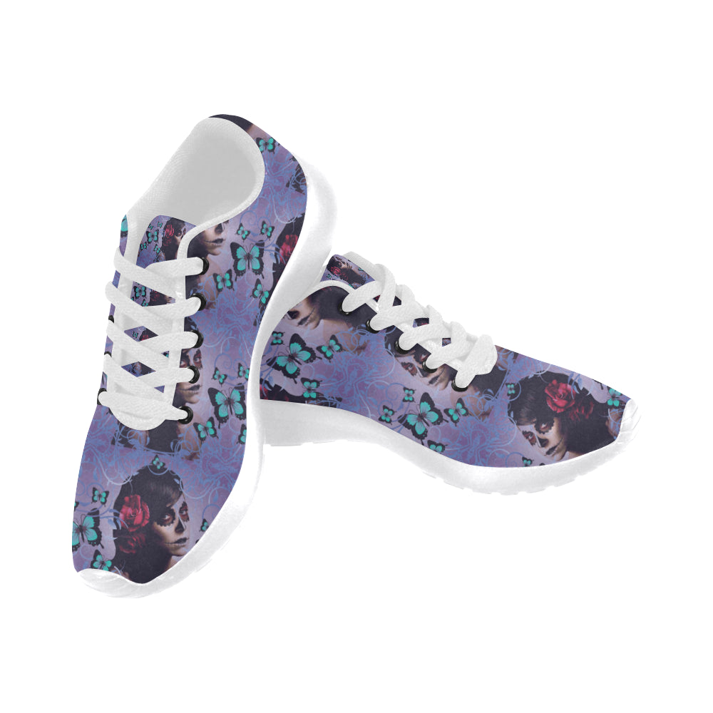 Sugar Skull Candy White Sneakers Size 13-15 for Men - TeeAmazing