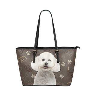 Bichon Frise Dog Leather Tote Bag/Small - TeeAmazing