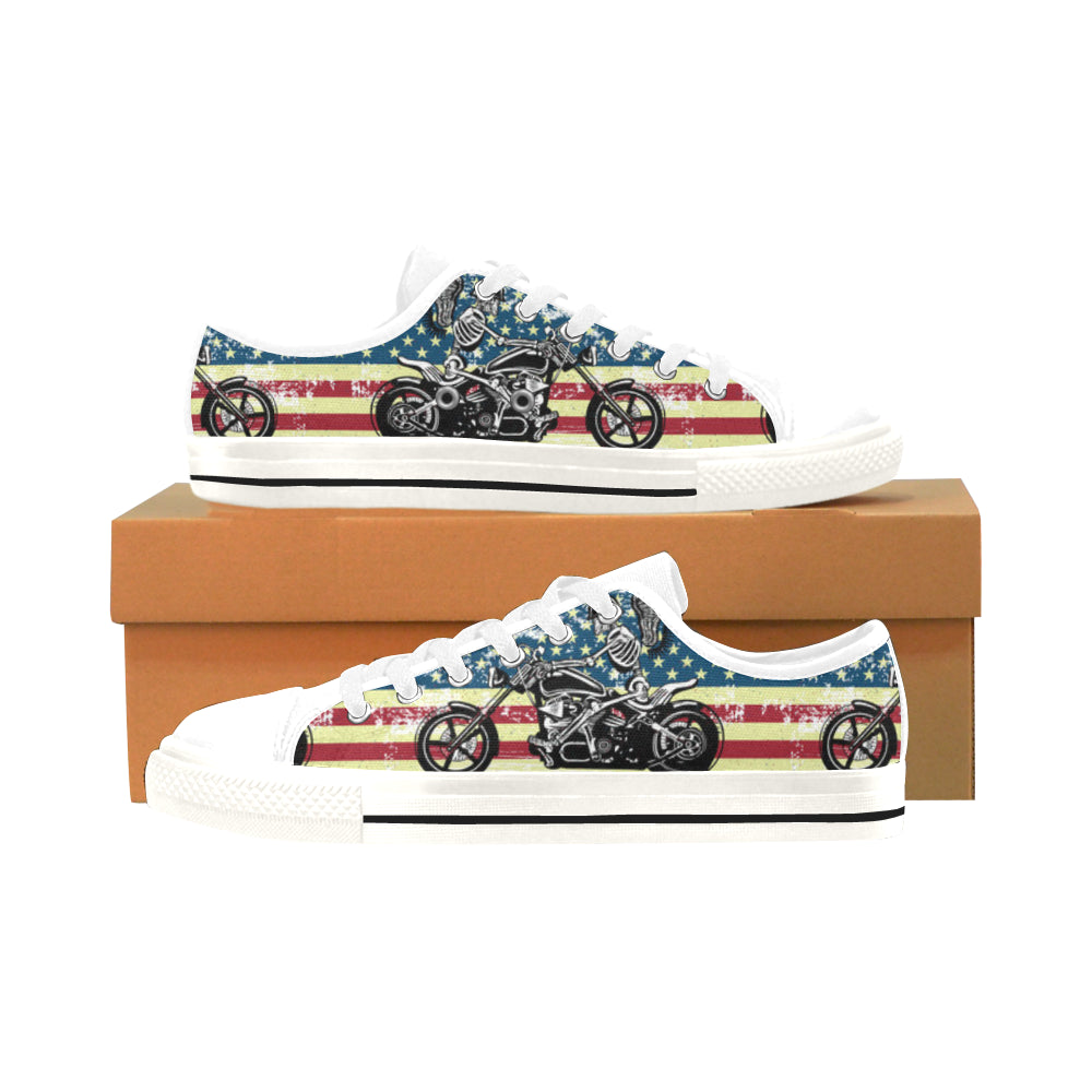 Skeleton Biker White Men's Classic Canvas Shoes/Large Size - TeeAmazing