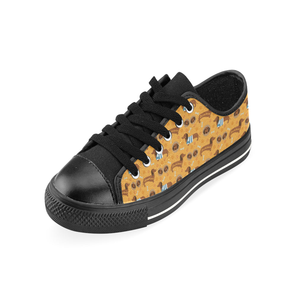 Dachshund Pattern Black Canvas Women's Shoes (Large Size) - TeeAmazing