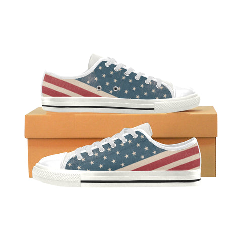 4th July V2 White Men's Classic Canvas Shoes (Model 018) - TeeAmazing