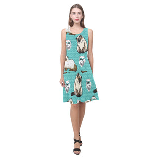 Himalayan Cat Sleeveless Splicing Shift Dress - TeeAmazing