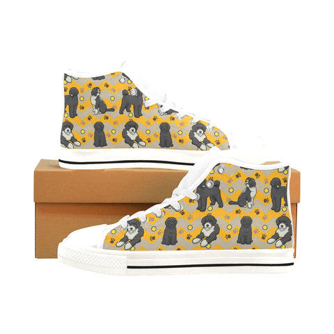 Portuguese water dog White Men's Classic High Top Canvas Shoes /Large Size (Model 017) - TeeAmazing