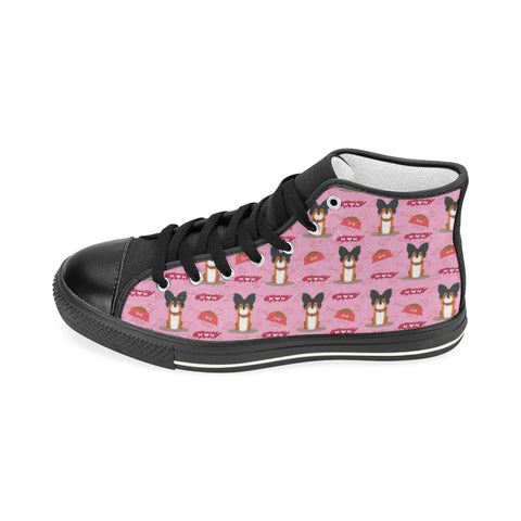 Papillon Pattern Black Women's Classic High Top Canvas Shoes - TeeAmazing