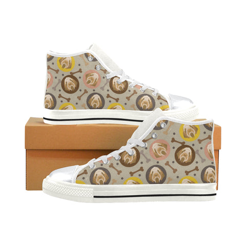 Spinone Italiano White High Top Canvas Women's Shoes/Large Size (Model 017) - TeeAmazing