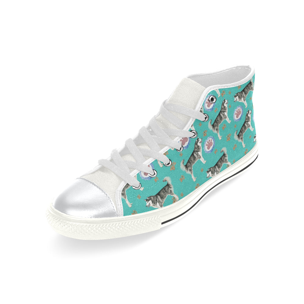 Alaskan Malamute Water Colour Pattern No.1 White High Top Canvas Shoes for Kid - TeeAmazing