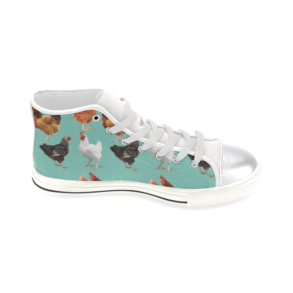 Chicken Pattern White Women's Classic High Top Canvas Shoes - TeeAmazing