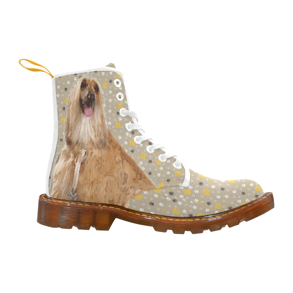 Afghan Hound White Boots For Women - TeeAmazing