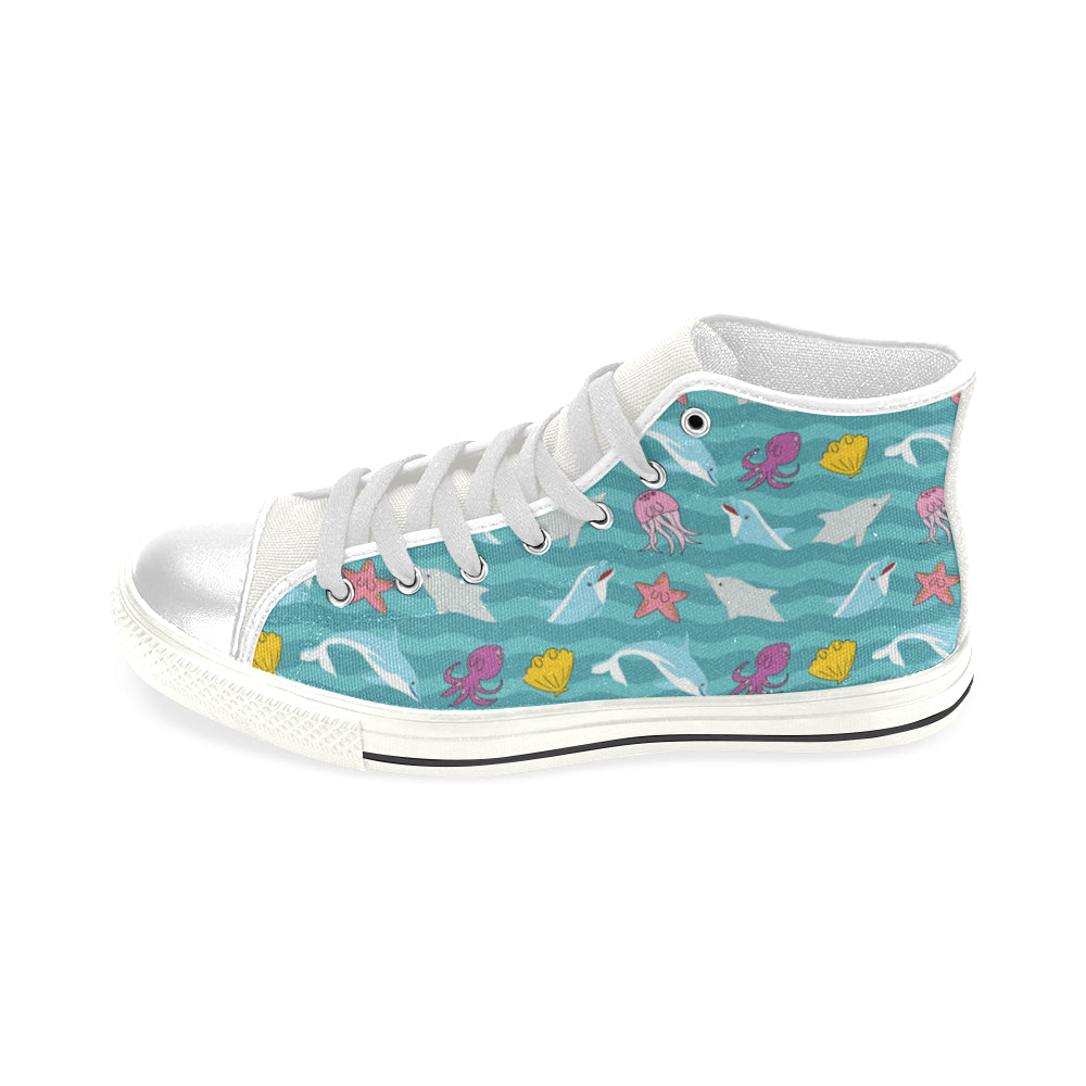 Dolphin White Men's Classic High Top Canvas Shoes - TeeAmazing