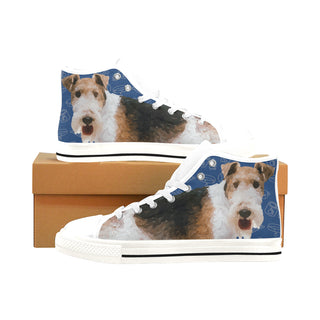 Wire Hair Fox Terrier Dog White Men's Classic High Top Canvas Shoes /Large Size - TeeAmazing