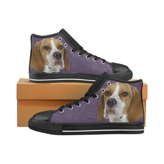 English Pointer Dog Black High Top Canvas Women's Shoes/Large Size (Model 017) - TeeAmazing