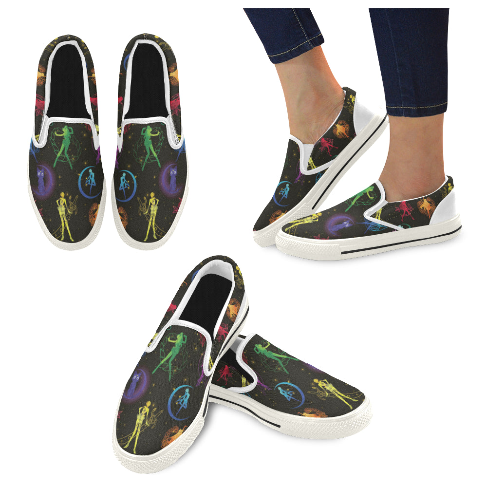All Sailor Soldiers White Women's Slip-on Canvas Shoes/Large Size (Model 019) - TeeAmazing