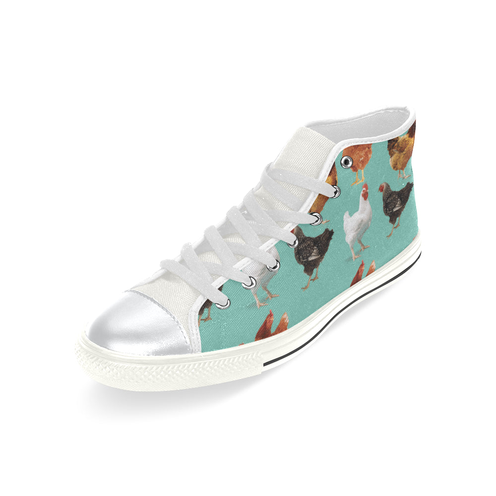 Chicken Pattern White High Top Canvas Shoes for Kid - TeeAmazing