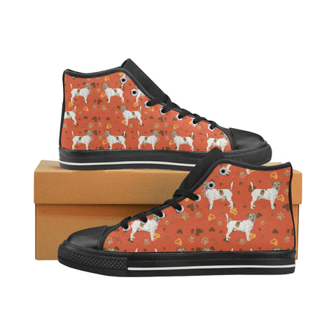Jack Russell Terrier Water Colour Pattern No.1 Black High Top Canvas Women's Shoes/Large Size - TeeAmazing