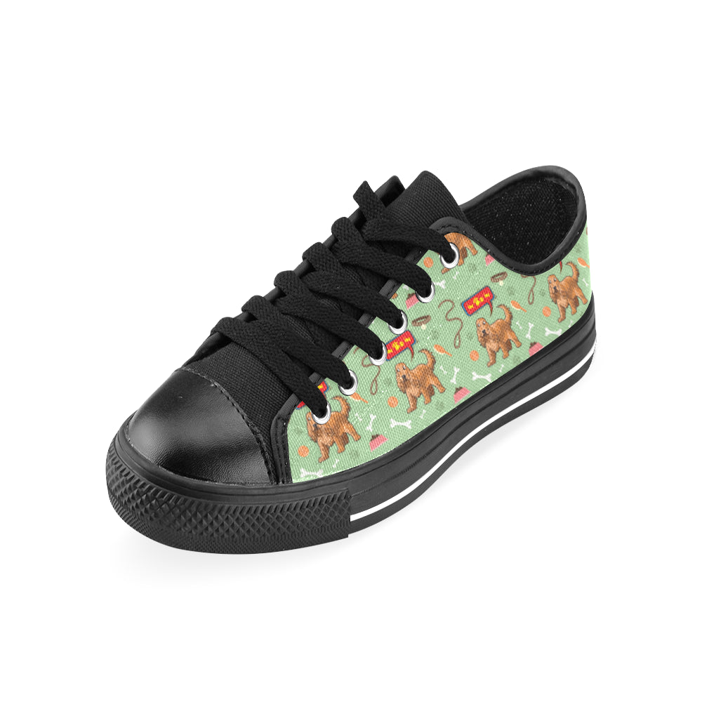 American Cocker Spaniel Pattern Black Men's Classic Canvas Shoes/Large Size - TeeAmazing