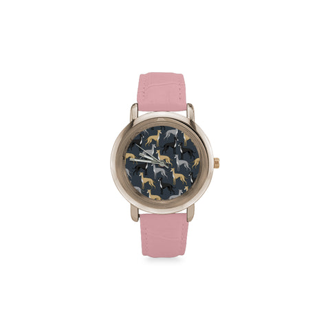 Greyhound Women's Rose Gold Leather Strap Watch(Model 201) - TeeAmazing