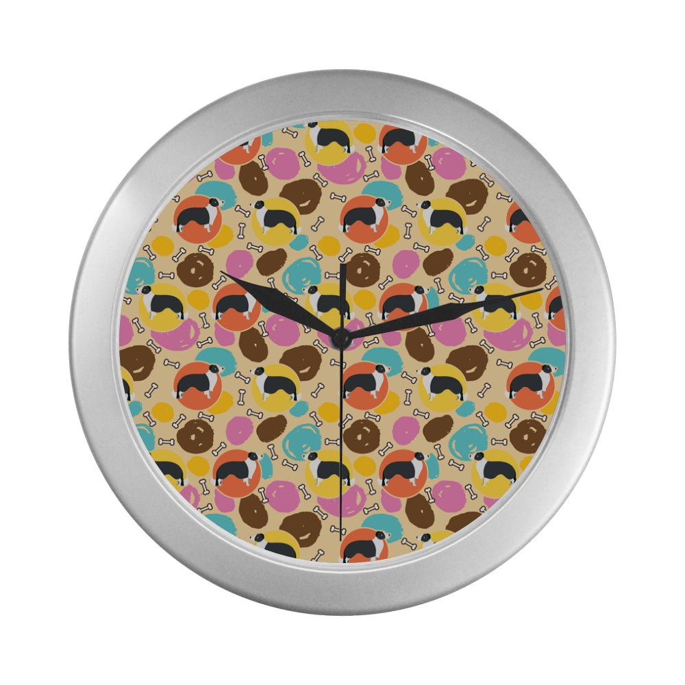 Border Collie Pattern Silver Color Wall Clock - TeeAmazing
