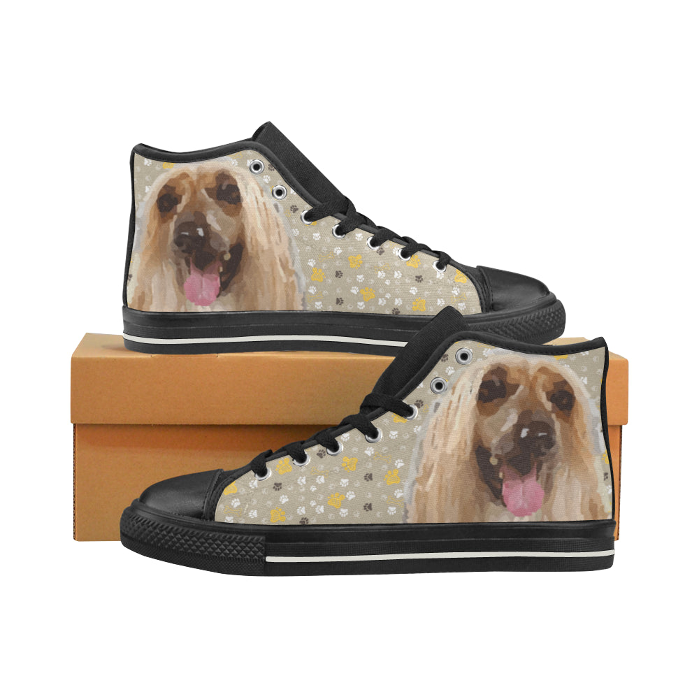 Afghan Hound Black High Top Canvas Shoes for Kid - TeeAmazing