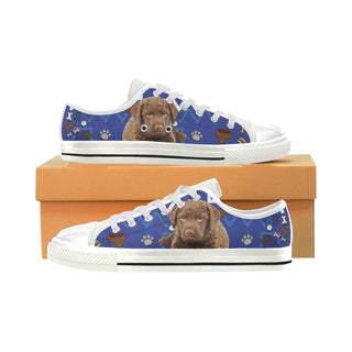 Chesapeake Bay Retriever Dog White Women's Classic Canvas Shoes (Model 018) - TeeAmazing