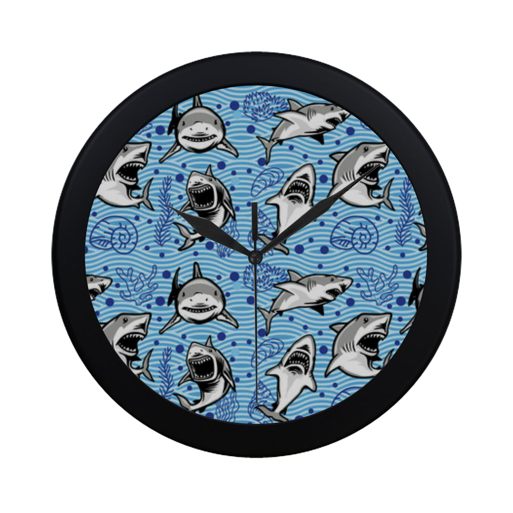 Shark Black Circular Plastic Wall clock - TeeAmazing