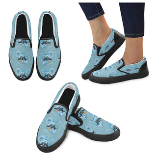 Sky Diving Black Women's Slip-on Canvas Shoes (Model 019) - TeeAmazing