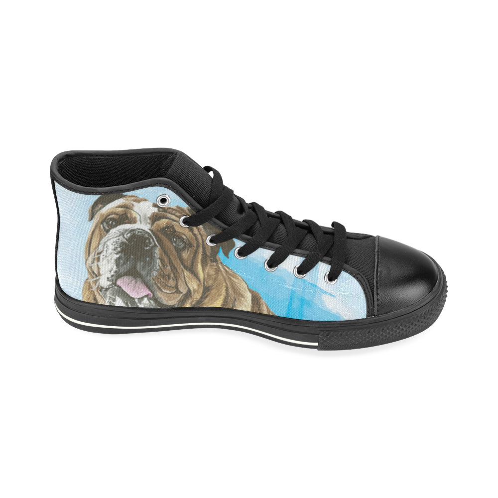 English Bulldog Water Colour No.1 Black High Top Canvas Shoes for Kid - TeeAmazing