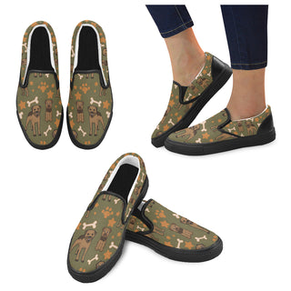 Border Terrier Pattern Black Women's Slip-on Canvas Shoes - TeeAmazing