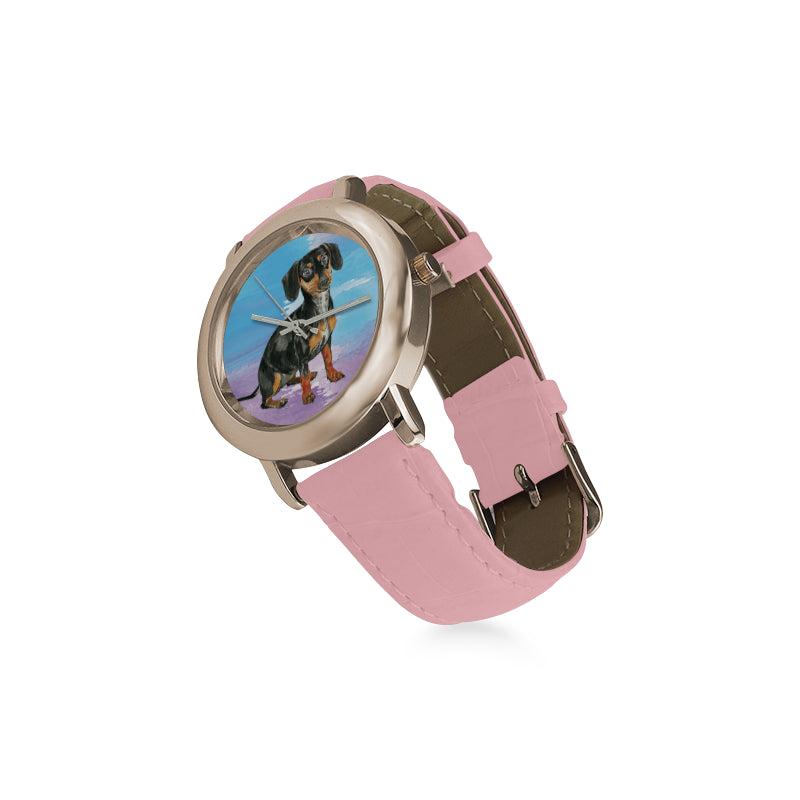 Dachshund Water Colour No.1 Women's Rose Gold Leather Strap Watch - TeeAmazing